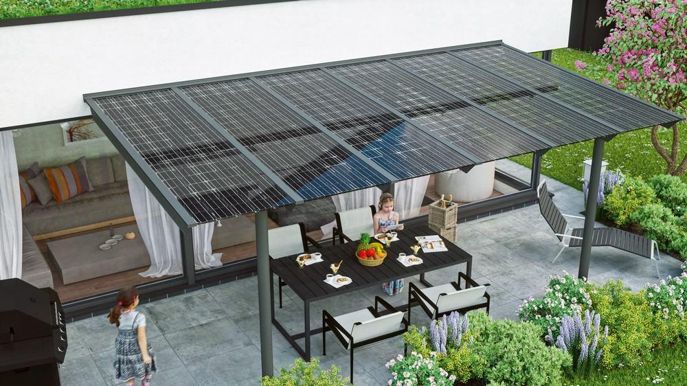 Terrassendächer mit Solarmodulen