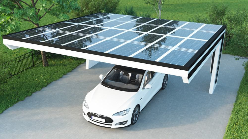 Carport mit Solarmodulen